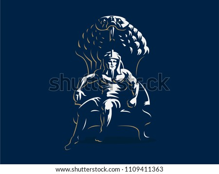 Pharaoh is sitting on the throne. Vector illustration.
