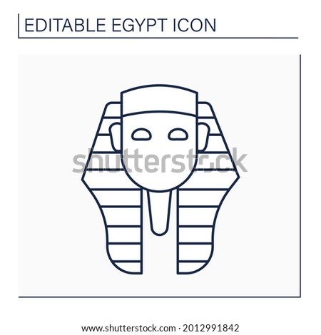 Pharaoh line icon. King of ancient Egypt civilization. Royal family. Uses power or authority to oppress others.Egypt concept. Isolated vector illustration. Editable stroke Stock photo ©