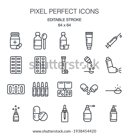 Pharmaceutical dosage forms editable stroke outline icon pack isolated on white background vector illustration. Pixel perfect. 64 x 64. Stockfoto ©