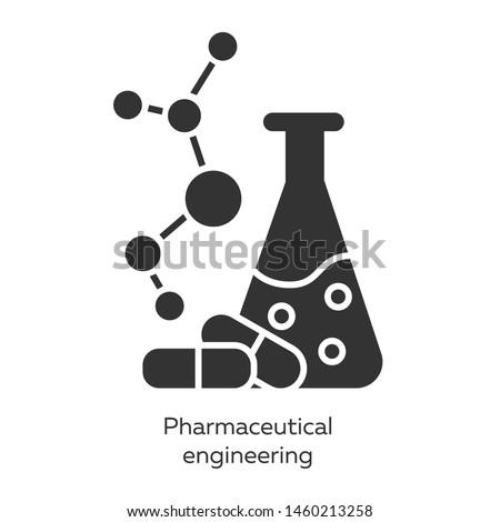 Pharmaceutical engineering glyph icons set. Drug formulating. Chemical engineering. Flask, molecule, capsules. Pharmacology. Biotechnology. Silhouette symbols. Vector isolated illustration Stock photo ©