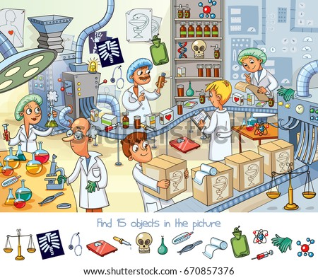pharmaceutical factory. find 15 ...
