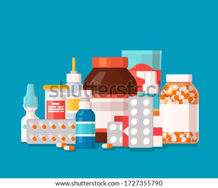 Pharmaceutical illustration of medical bottles and pills on blue background. Medical cure and flat medicament and vitamin with shadow