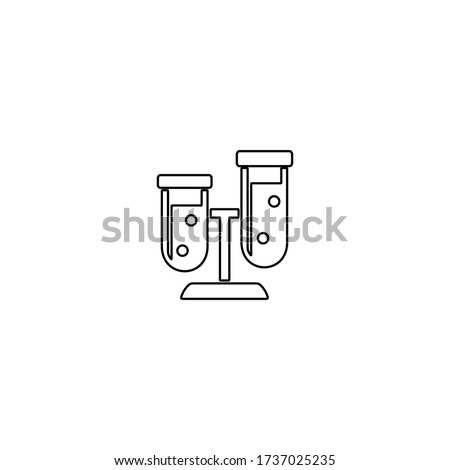 Pharmaceutical research and development icon. Drug formulating. Chemical engineering. Flask, molecule, capsules. Pharmacology. Biotechnology. Stock photo ©