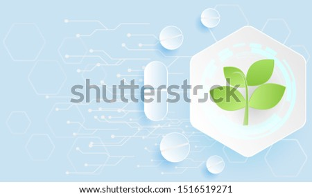 Pharmaceutical technology using medicinal plants to extract important substances concept. Futuristic and paper cut design.