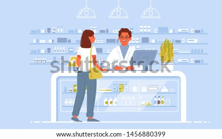 Pharmacist doctor and patient in the drugstore. A client woman buys drugs at a pharmacy. Vector illustration in flat style