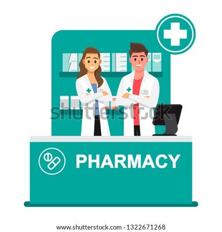 Pharmacist,drugstore,Pharmacists are ready to give advice on drug use..cartoon illustration