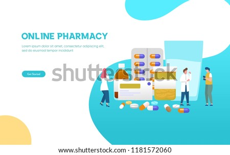 Pharmacist give advice and conceling medication to costumer at pharmacy vector illustration concept, can use for, landing page, template, ui, web, mobile app, poster, banner, flyer #1181572060