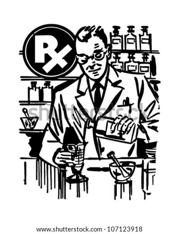 Pharmacist Mixing Medicine - Retro Clipart Illustration