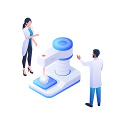 Pharmacists developing new drug isometric illustration. Female and male characters in white coats stand near blue biochemical device. Biotechnology research and chemical analysis vector concept.