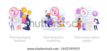 Pharmacological internet service development and promotion. Pharmacological business, pharmaceutical marketing, online prescription system metaphors. Vector isolated concept metaphor illustrations.