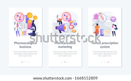 Pharmacological internet service development and promotion. Pharmacological business, pharmaceutical marketing, online prescription system metaphors. Mobile app UI interface wireframe template.
