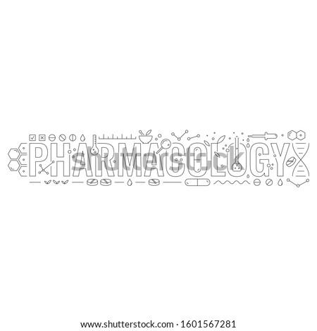 pharmacology and pharmacology symbols. technical drawing pharmacology concept. contour pharmacology
