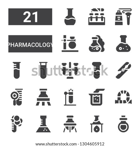 pharmacology icon set. Collection of 21 filled pharmacology icons included Remedy, Flask, Test tube, Tube, Beaker