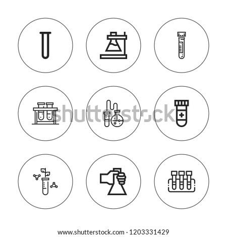Pharmacology icon set. collection of 9 outline pharmacology icons with blood test, flask, test tube icons. editable icons.