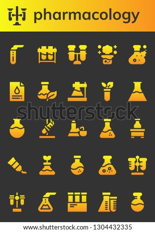 pharmacology icon set. 26 filled pharmacology icons.  Collection Of - Test tube, Test tubes, Chemical reaction, Flask, Blood test, Flasks, Tube
