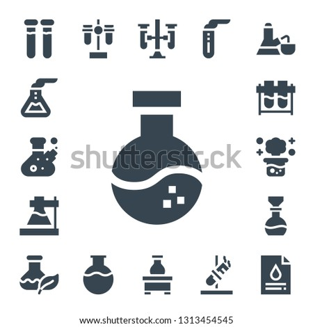 pharmacology icon set. 17 filled pharmacology icons.  Collection Of - Test tubes, Flask, Chemical reaction, Test tube, Blood test