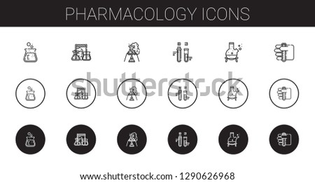 pharmacology icons set. Collection of pharmacology with flask, test tube. Editable and scalable pharmacology icons.
