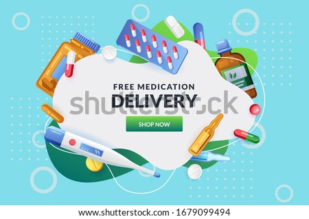 Pharmacy abstract white frame with pills, drugs, medical bottles. Drugstore vector background. Medicine, healthcare or home delivery service banner, poster design template with copy space