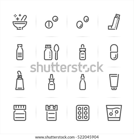 Pharmacy and Medical icons with White Background