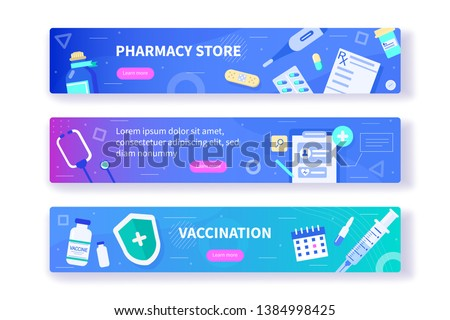 Pharmacy and vaccination concept templates for horizontal web banners . Can use for backgrounds, infographics, hero images. Flat modern vector illustration.