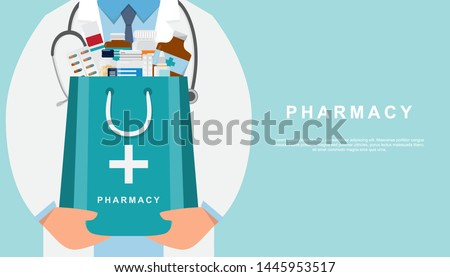 pharmacy background with doctor holding a medicine bag and copy space. drugstore cartoon character design vector illustration