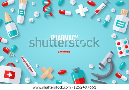 pharmacy banner with flat icons