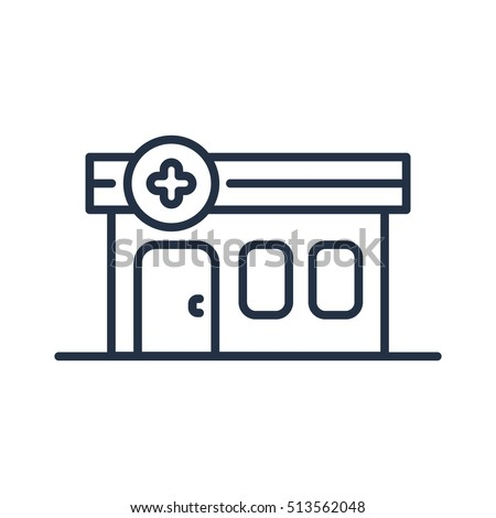 Pharmacy Building Line Icon