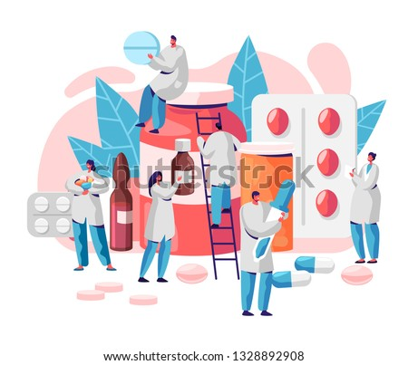 Pharmacy Business Medicine Drug Store Character. Pharmacist Care for Patient. Professional Pharmaceutical Science. Online Pill Drugstore Infographic Background. Flat Cartoon Vector Illustration