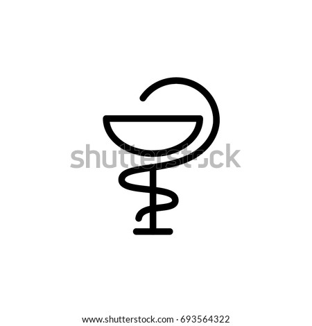 Pharmacy, Caduceus symbol, icon, linear sign vector illustration of Eps10