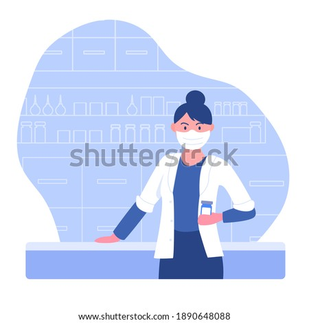 Pharmacy concept with pharmacist. Doctor pharmacist seller stands in front of the counter and offers medications vitamins in drugstore. Health care and counseling medication. Vector flat illustration.