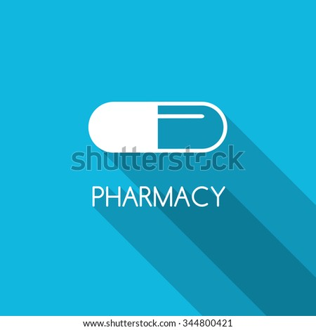 Pharmacy design background. White capsule on blue background. Line capsule icon. Pharmacy symbol. Flat style design with capsule.