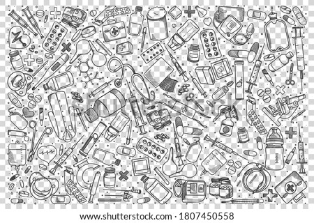 Pharmacy doodle set. Collection of hand drawn sketches templates patterns of pills syringe pharmacological drugstore equipment on transparent background. Healthcare and medical support illustration.