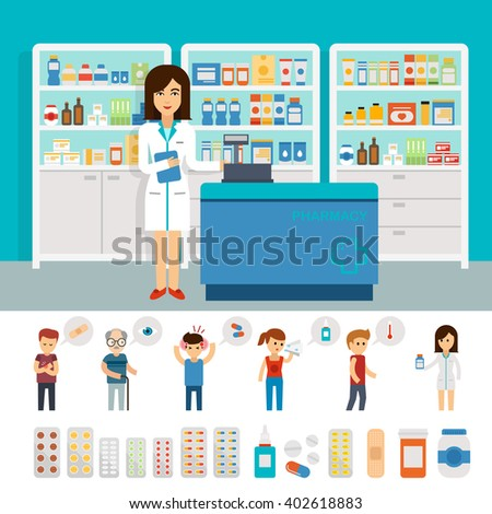 Pharmacy infographic elements and flat banner design. Vector pharmacy drugstore set. Drugs icons: pills capsules and prescription bottles. Flat vector woman pharmacist and people with illnesses