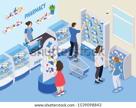 Pharmacy isometric composition with people choosing medications in drugstore and staff advising buyers vector illustration