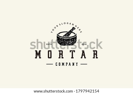 Pharmacy logo design vintage mortar vector Stockfoto ©
