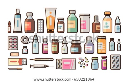 Pharmacy, medication, bottles, pills, capsules set icons. Drugstore, medicine, hospital concept. Vector illustration in flat style