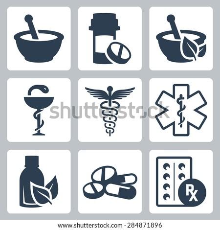 Pharmacy, medicine vector icon set