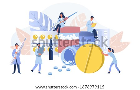 Pharmacy or apothecary concept. Pharmacists care about people. Pharmaceutical science development. Flat vector Illustration
