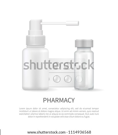 Pharmacy poster with blank medical containers for capsules and spray, pills blister in realistic design 3D vector set. Aerosol bottles empty packages - Shutterstock ID 1114936568