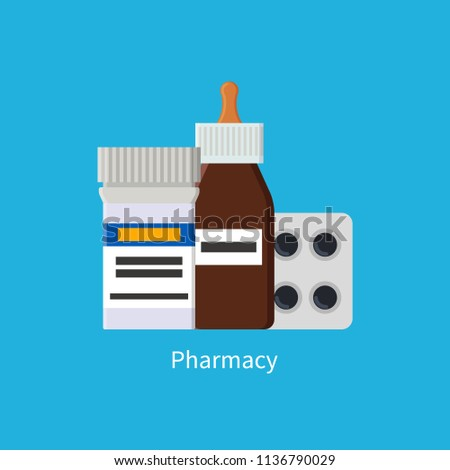 Pharmacy poster with medications in plastic glass containers. Activated carbon pills blister. Capsules plastic package isolated on vector illustration