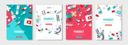 Pharmacy Posters Set With Flat Icons. Vector illustration for medical or healthcare presentation, document cover and layout template design. Drugs and Pills, Lab Tests, Medication Concept