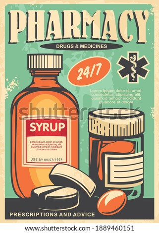 Pharmacy retro poster design with medicines, syrup, pills and medicament. Vintage sign for old apothecary. Healthcare and medical vector illustration.