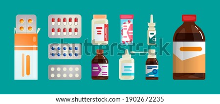 Pharmacy set items. Medicines, medical products. Vector illustration in flat cartoon style. Foto stock ©