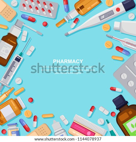 Pharmacy square frame with pills, drugs, medical bottles. Drugstore vector flat illustration. Medicine and healthcare banner, poster background with copy space.