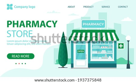 Pharmacy store landing page. Commercial, property medicine building. Vector illustration in flat style