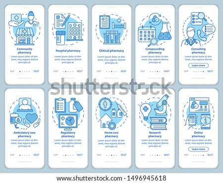 Pharmacy types and services onboarding mobile app page screen with linear concepts. Home and hospital care. Walkthrough steps graphic instructions. UX, UI, GUI vector template with illustrations set
