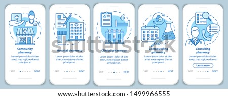 Pharmacy types onboarding mobile app page screen with linear concepts. Hospital, clinic pharmacology. Five walkthrough steps graphic instructions. UX, UI, GUI vector template with illustrations