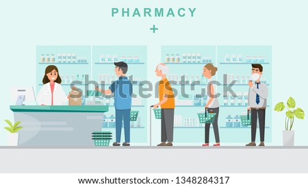 pharmacy with pharmacist  in counter and people buying medicine. drugstore cartoon character design vector illustration