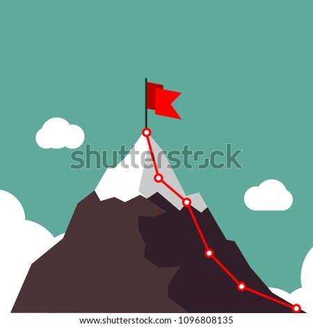 Phased plan of action. Stages of the plan of climbing the mountain. Infographic for business or sport. Motivation concept. Vector flat design.
