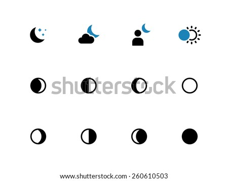Phases of the moon duo tone icons on white background. Vector illustration. Foto stock ©